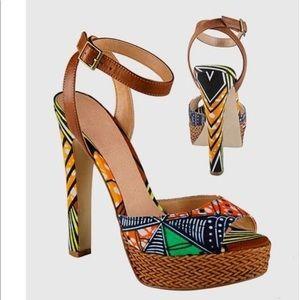 Aldo African Print Woven Platform Spiked Heel!